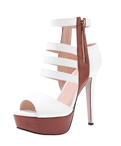 11c86a9305 Fashare Womens Peep Toe Strappy Cutout Platform Stilettos Pumps High Heels  Sandals Shoes White