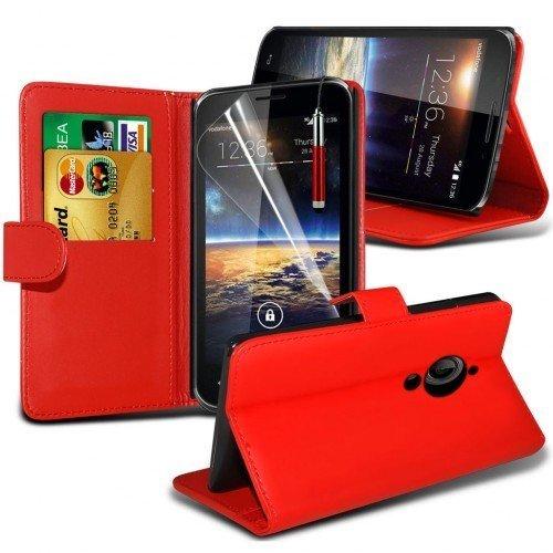 Vodafone Smart 4 Turbo Cubierta del caso con cuero (Rojo) Plus de regalo libre, Protector de pantalla y un lápiz óptico, Solicitar ahora mejor caja del teléfono Valorado en Amazon! By FinestPhoneCases