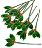 Darice Package of 36 Miniature Lacquered Holly Leaves with Bright Red Berry Stems for Holiday Crafts and Floral Projects