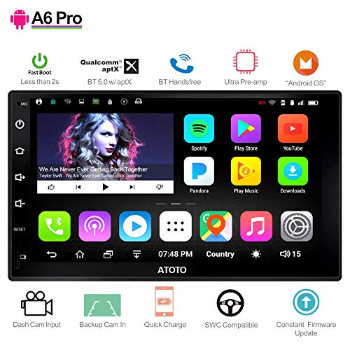 ([New] ATOTO A6 Pro A6Y2721PR Double DIN Android Car Navigation Stereo - 2X Bluetooth with aptX - Quick Charge/Ultra Preamplifier - in Dash Entertainment Multimedia Radio,WiFi,Support 256G SD &More)