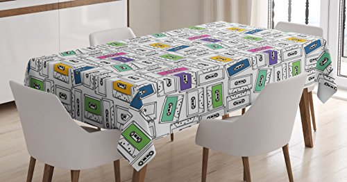 Lunarable Music Tablecloth, Colorful Retro Audio Cassette Pattern Old School Nineties and Eighties Illustration, Dining Room Kitchen Rectangular Table Cover, 60