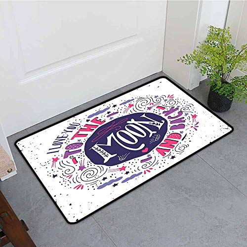(ONECUTE Indoor Doormat,I Love You Sweet Colorful Love with Fun Forms Comet Storm Clouds Valentines Theme,All Season Universal,35