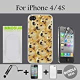Mr Doge MEME Custom iPhone 4 Cases/4S Cases-White-Rubber,Bundle 3in1 Comes with HD Screen Protector/Universal Stylus Pen by innosub