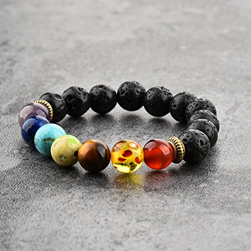 Mystiqs Kids Lava Rock & Chakra Beaded Stone Bracelet Essential Oil Diffuser Ideal for Anti-Stress or Anti-Anxiety Ages 3-6 -