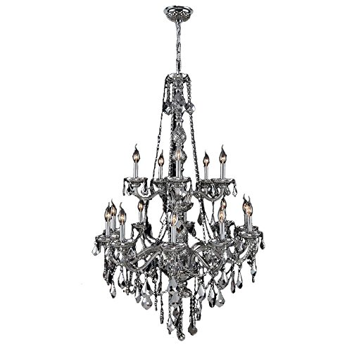 Worldwide Lighting Provence Collection 15 Light Chrome Finish and Chrome Crystal Chandelier 33″ D x 52″ H Two 2 Tier Large