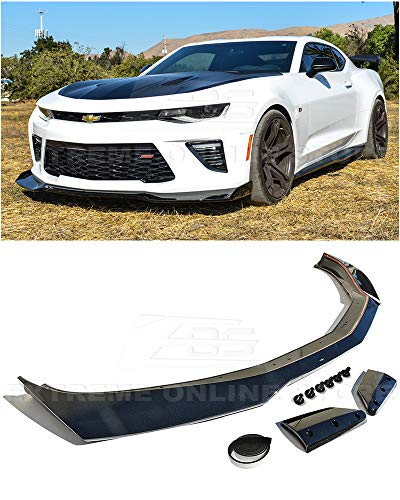 Extreme Online Store Replacement For 2016-2018 Chevrolet Camaro SS Models | ZL1 1LE Style Front Bumper Lower Lip Splitter (ABS Plastic - Painted Carbon Flash Metallic) ()