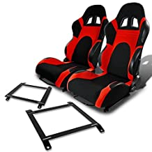 Pair of RST6BKRD Racing Seats+Mounting Bracket for Mazda Miata w/Bucket Seat