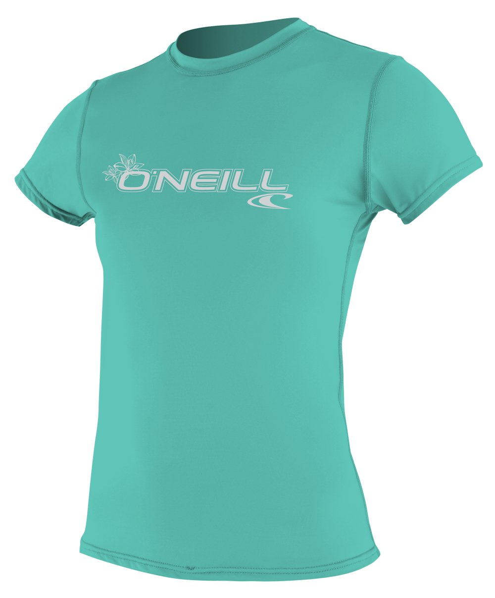 O'Neill Wetsuits Women's Basic Skins Upf 50+ Short Sleeve Sun Shirt, Light Aqua, Medium by O'Neill Wetsuits