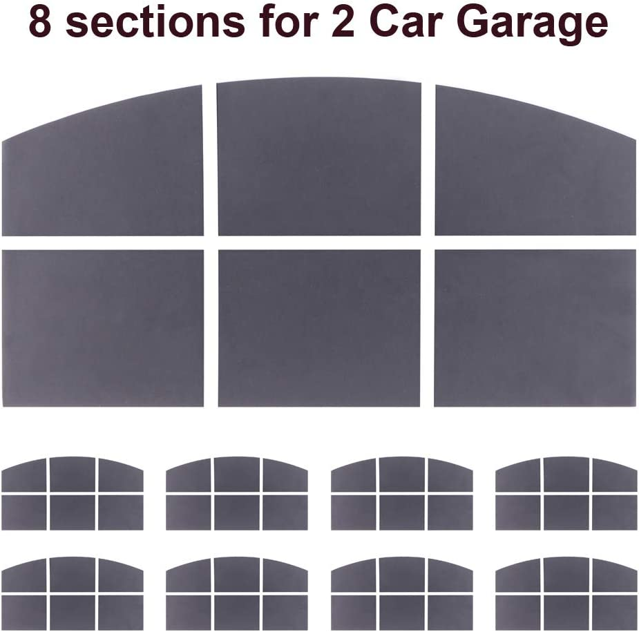 8 Sections 14.6x 7.6 Sanfurney 2 Car Magnetic Garage Door Windows Panes Arch Style Pre-Cut Faux Fake Decorative Window Decals Gloss Black