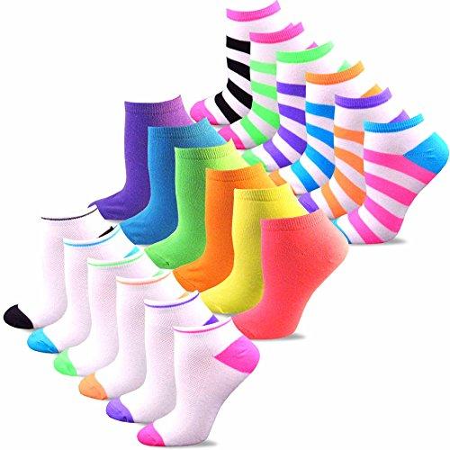 Womens Neon Liner Socks - TeeHee Women's Acrylic No Show Low Cut Basic 18-Pack, (Neon Bright)