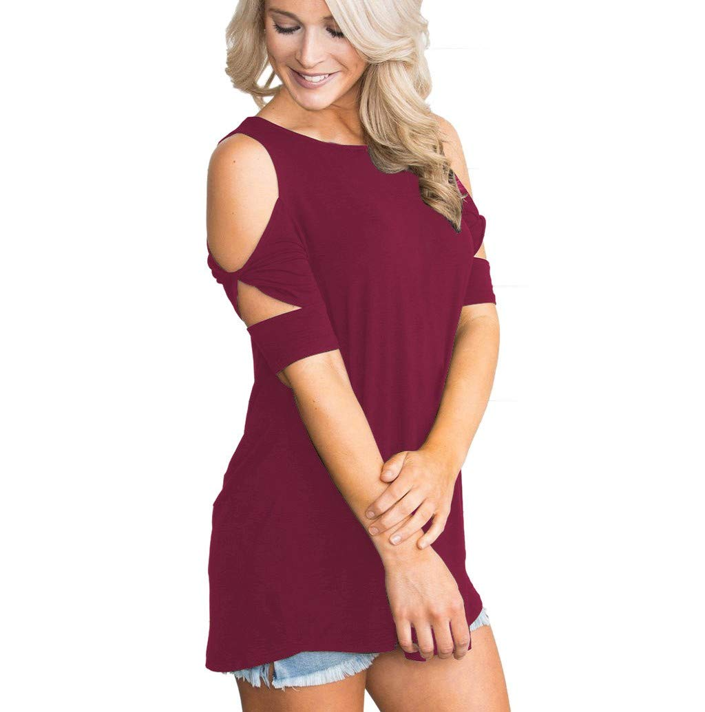Women's T-Shirt, JHKUNO Short Sleeve Cut Out Shirts Cold Shoulder Casual Blouse Solid Tunic Tops Wine