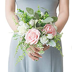 Ling's moment Wedding Bouquet for Bride Bridal Bridesmaid Vintage Artificial Flowers Bouquet Home Wedding Decoration 52
