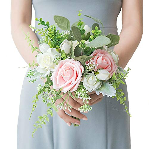 - Ling's moment Wedding Bouquet for Bride Bridal Bridesmaid Vintage Artificial Flowers Bouquet Home Wedding Decoration