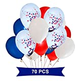 Patriotic Party Supplies and Decorations - Balloons With Confetti Inside Star - White, Red, Blue and Transparent With Star Confetti - Fourth of July Balloons Set - Red and Blue Decorations - 70 Pack.
