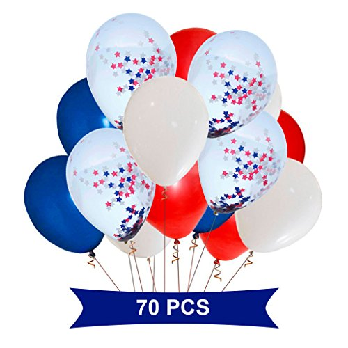 Party Supplies and Decorations - Balloons With Confetti Inside Star - White, Red, Blue and Transparent With Star Confetti - Fourth of July Balloons Set - Red and Blue Decorations -