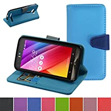 ASUS Zenfone 2 Laser 5.5 Case,Mama Mouth [Stand View] Premium PU Leather [Wallet Case] With Credit Card / Cash Slots Cover For ASUS Zenfone 2 laser 5.5 ZE550KL,Light Blue