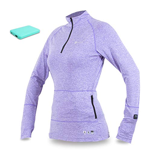 Adult 1/4 Zip Thermal - Venture Heat Women's Heated Base Layer with Battery 6Hr - The Nomad 1/4 Zip Shirt, Carbon Fiber (M, Purple Heather)