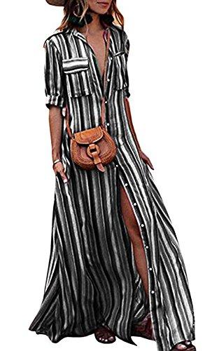 casual Elegante maniche a estivo Abito a corto hellomiko Nero Abito lunghe abito maniche lungo lunghe bohemien stile Vestito in STIq7