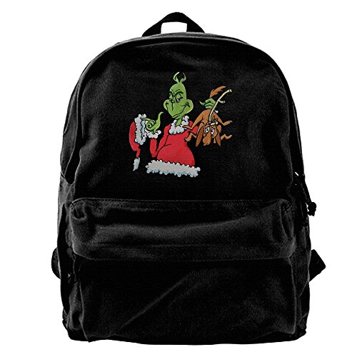 Grinch Costume Jim Carrey (Canvas Backpack, How The Grinch Stole Christmas! Casual Laptop College Bag Daypack For Travel, Hiking, Camping)