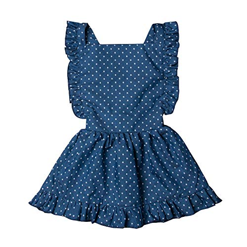 Hwaikun Toddler Baby Infant Tutu Sleeveless Vest Dress Backless Cute Romper Newborn Kid Ruffle Skirt, Ages for 6M-5T (Blue, 12-24 M)