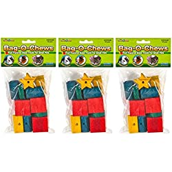 (3 Pack) Ware Manufacturing Pine Wood Bag-O-Chews Small Pet Treat (Medium - 12 ct. Per Pack)