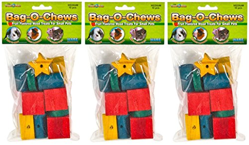 Chew Wood Treats - (3 Pack) Ware Manufacturing Pine Wood Bag-O-Chews Small Pet Treat (Medium - 12 ct. Per Pack)