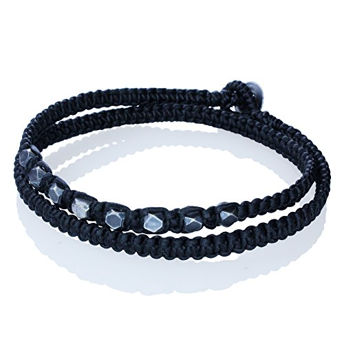 Hand Made Black Double Wrapped Cotton Cord Bracelet with Ornamented Beads
