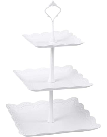 BESTONZON Three Tiers Cake Display Stand And Fruit Plate Party Serving Platter For Birthday Weeding