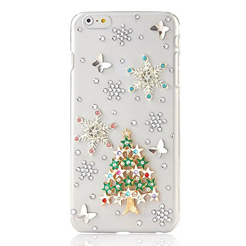 (STENES iPod Touch (5th Generation) Case, Luxurious Crystal 3D Handmade Sparkle Diamond Rhinestone Clear Cover With Retro Bowknot Anti Dust Plug - Christmas Stars Tree Snow Butterfly/Green)