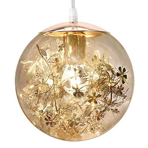 UL Globe Pendant Light with LED Bulb JACKYLED Glass Pendant Light Hanging Glass Globe Pendant Light Modern Gold Pendant Light for Kitchen Island Living Room (Golden)