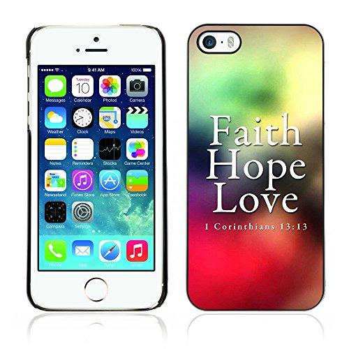 DREAMCASE Citation de Bible Coque de Protection Image Rigide Etui solide Housse T¨¦l¨¦phone Case Pour APPLE IPHONE 5 / 5S - CORINTHIANS 13:13 - FAITH LOVE HOPE