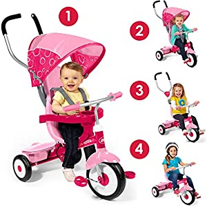 Radio Flyer Kids Pink Bike 4-in-1 Learn-to-Ride and Grow-With-Me Sports Pedal Push Trike Tricycle for Toddler Girls