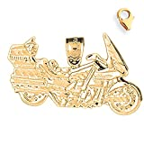 Gold-Plated 925 Silver 20mm Motorcycle 8.25'' Charm Bracelet