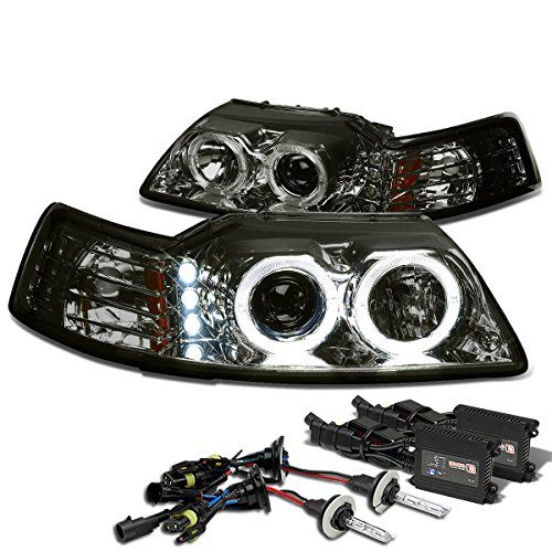 (For Ford Mustang SN-95 Dual Halo Projector+LED Headlight+8,000K H1 HIDs+Slim Ballasts (Smoke Lens Amber Reflector))