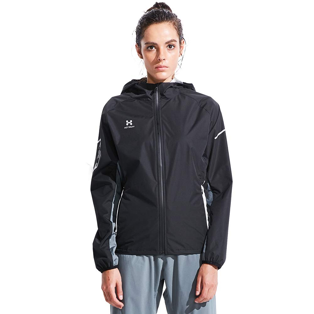 HOTSUIT Sauna Suit for Weight Loss Women's Sauna Jackets Tops (Black, Small)