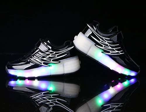 Mr.Ang luces LED colorido parpadeante ruedas de patines de rueda patín zapatos zapatos del patín zapatos deportivos niños y niñas de calzado deportivo zapatillas con ruedas zapatos de skate neutra 02 Noir