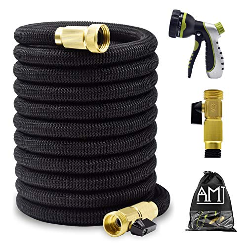 Mozing 50ft Expandable Garden Hose – Heavy Duty Expanding Water Hose with 3/4 Solid Brass Fittings & Premium 8 Functions Hose Nozzle