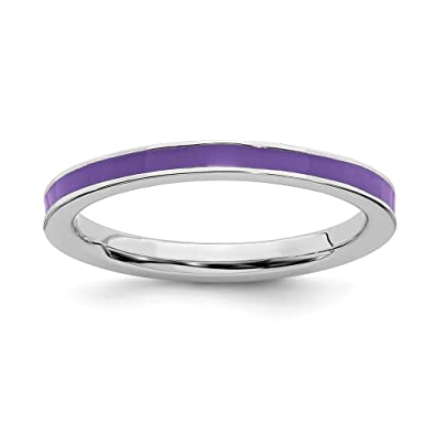 d6d2b4e31 925 Sterling Silver Purple Enameled 2.25mm Band Ring Size 5.00 Stackable Ed Fine  Jewelry Gifts