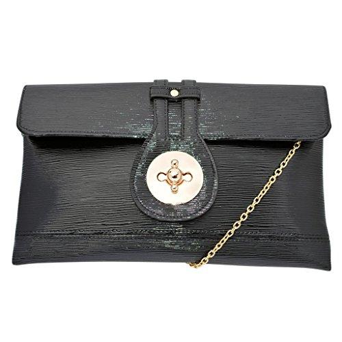 Black Clutch Bag Patent Leather Crossbody Handbag with Chain