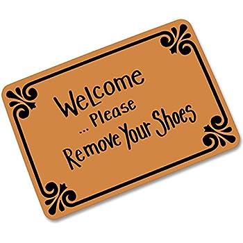 Welcome Please Remove Your Shoes Doormat Entrance Mat Floor Mat Rug  Indoor/Outdoor/Front Door/Bathroom Mats Rubber Non Slip (23.6 L X 15.7 W)