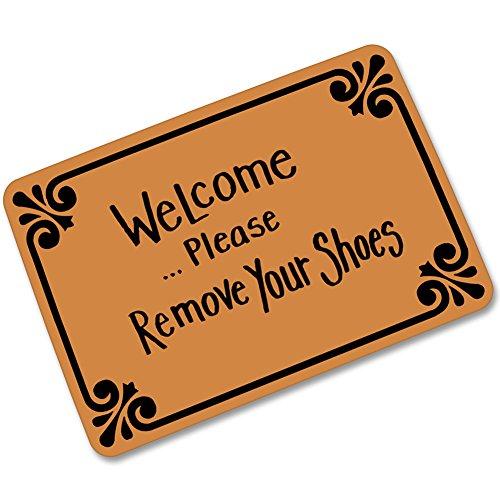 Welcome Please Remove Your Shoes Doormat Entrance Mat Floor Mat Rug Indoor/Outdoor/Front Door/Bathroom Mats Rubber Non Slip (23.6 L x 15.7 W) by Super Rui