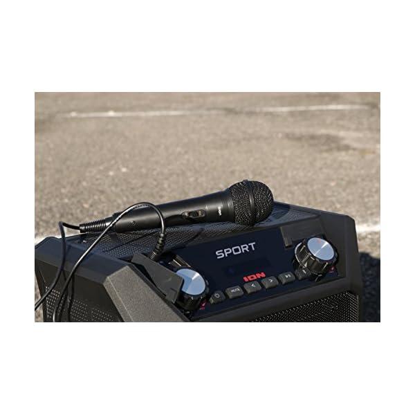 ION Audio Sport - Enceinte 50 W Résistant à l'Eau, avec Batterie Rechargeable Longue Durée, Étanchéité IPX4, Bluetooth, Port USB de Charge, Entrée Aux et Microphone Haute-Définition 3