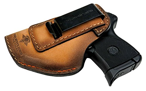 - Relentless Tactical The Defender Leather IWB Holster - Made in USA - Fits Ruger LCP, LCP2, Sig P238, P290, S&W Bodyguard .380 and Most .380's - Made in USA - Charred Oak Left Handed