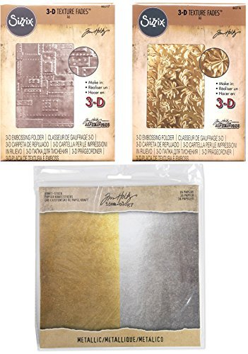 Tim Holtz Alterations - 3D Embossing Folders and Paper Bundle - Foundry and Botanical Texture Fades & Idea-ology Metallic Kraft Cardstock - 3 Items