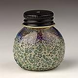 Handmade Glass Screwcap Hemp Wick Dispenser - Green/Silver +Bonus 20ft Wick!