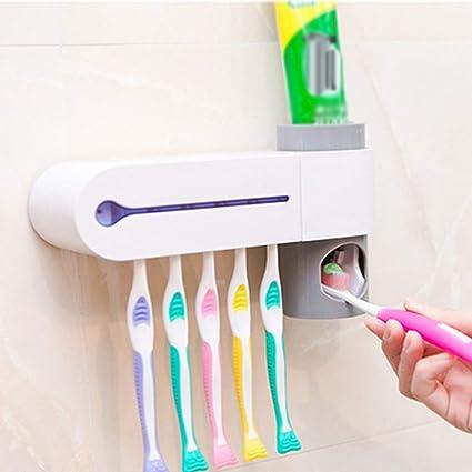 UV Light Toothbrush Holder Sterilizer Cleaner /& Automatic Toothpaste Dispenser