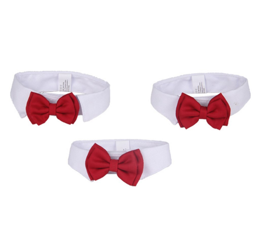 Gespout Pet Collar Bow Tie Decoration Cloth Bowtie Dog Cat Costumes Accessories with Bowknot Beautiful Charming Photos Cloth Adjustable S 1pcs Red