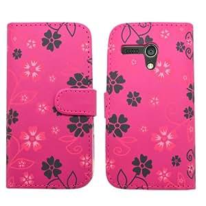 SAMRICK - Motorola Moto G - Ejecutivo Florales Ejecutivo Especialmente Diseñado Cuero Suave Estuche Cartera y Tarjetero Con Protector De Pantalla & Paño De Microfibra & Rosado (Pink) Lápiz Capacitivo Alta - Rosado Negro (Pink Black)