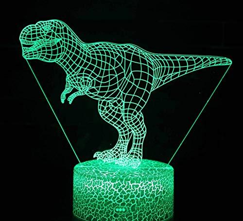 Lámpara De Luz Led Regalo Mesa Y Base Cable Usb Interruptor Ilusión Dinosaurio Táctil 7 3d Abs Ambiental Colores Nocturna 3A5L4Rj
