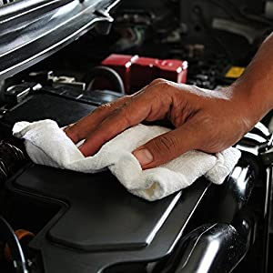 Shop Towels - (Pack of 25) - Size 13 x 13 Inches - Reusable Commercial Grade 100% Cotton Washable Cleaning Cloths - Perfect Shop Rags for Mechanic Work and Bar Mop - by Utopia Towel